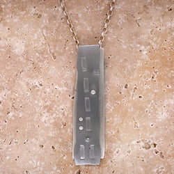 Embossed pattern double layer pendant and chain in silver and steel