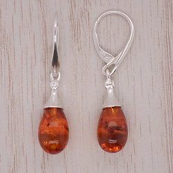 Amber droplet earrings in silver