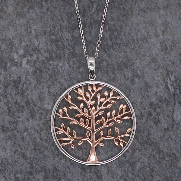 Tree of life pendant and chain in silver with rose gold plating