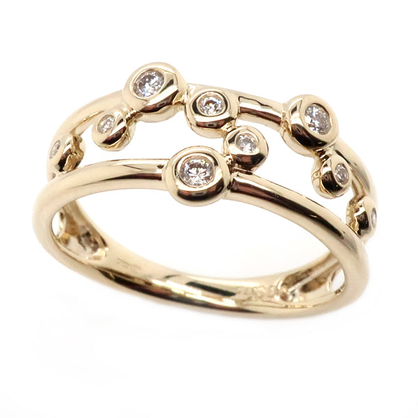 Diamond bubble ring in 9ct gold, 0.11ct