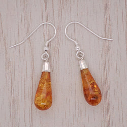 Amber long droplet earrings in silver