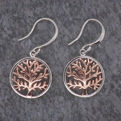 Tree of life drop earrings in silver with rose gold plating