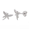Cubic zirconia dragonfly pendant and earrings set in silver