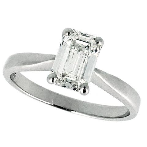 Emerald cut diamond solitaire ring in platinum, 0.93ct