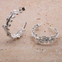 Grass seed hoop earrings in silver