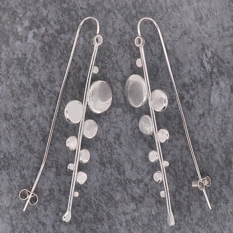 Long disc drop earrings in silver