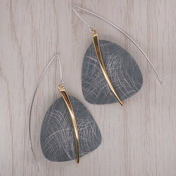 Textured earrings in titanium with gold plating