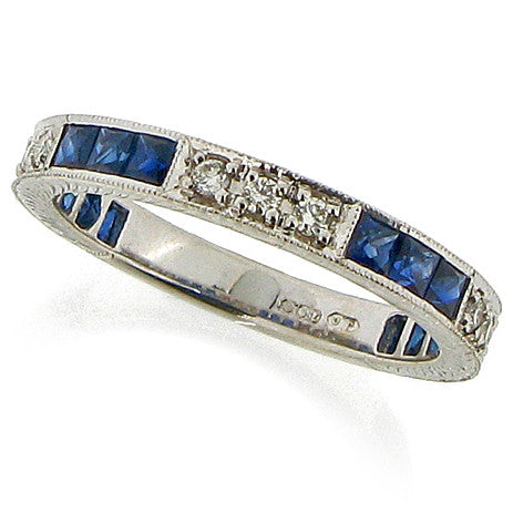 Art Deco style sapphire & diamond eternity ring, 18ct white gold