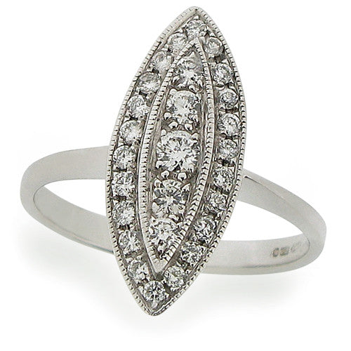 Ring - Diamond marquise shape cluster ring in 18ct white gold, 0.37ct  - PA Jewellery