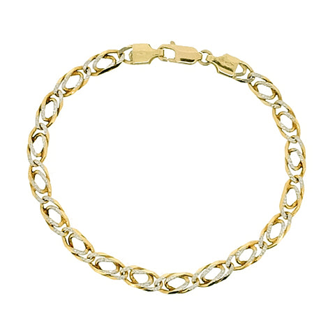Diamond cut double curb bracelet in 9ct yellow and white gold