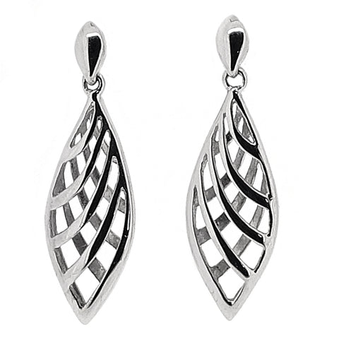 Teardrop open-work drop earrings in 9ct white gold