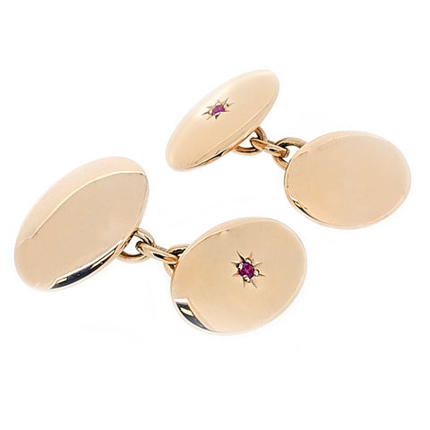 Ruby cufflinks in 9ct yellow gold