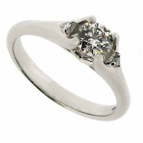 Ring - Diamond solitaire ring with shoulder detail in platinum, 0.49ct  - PA Jewellery