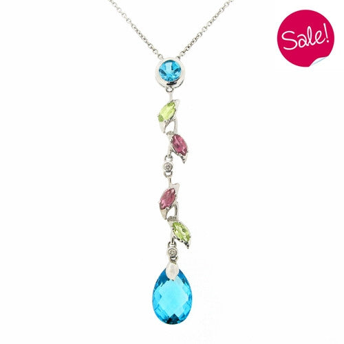 Neckwear - Multi gemstone pendant and chain in 18ct white gold  - PA Jewellery