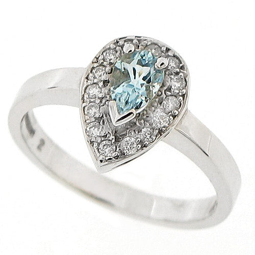 Aquamarine and diamond cluster ring in 9ct white gold