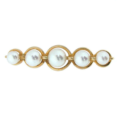 Brooch - Freshwater cultured pearl bar brooch in 9ct gold.  - PA Jewellery