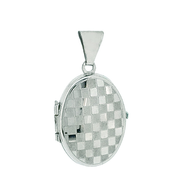 Checkerboard detail oval locket in 9ct white gold