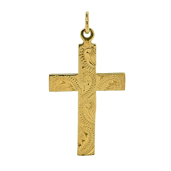 Patterned cross pendant in 9ct yellow gold