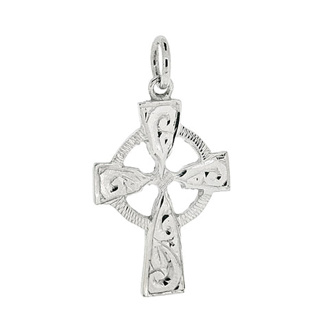 Celtic style cross pendant in 9ct white gold