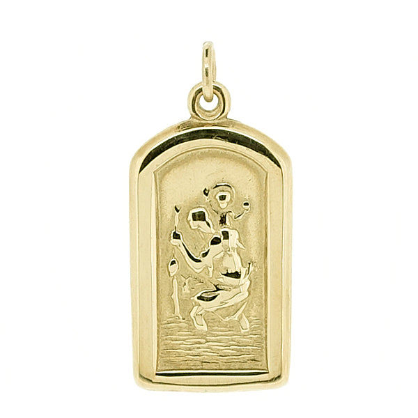 Arch-shaped St Christopher pendant in 9ct yellow gold
