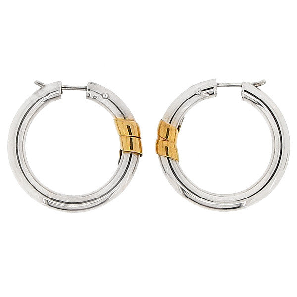 Round creole earrings in 9ct white gold with yellow gold detail