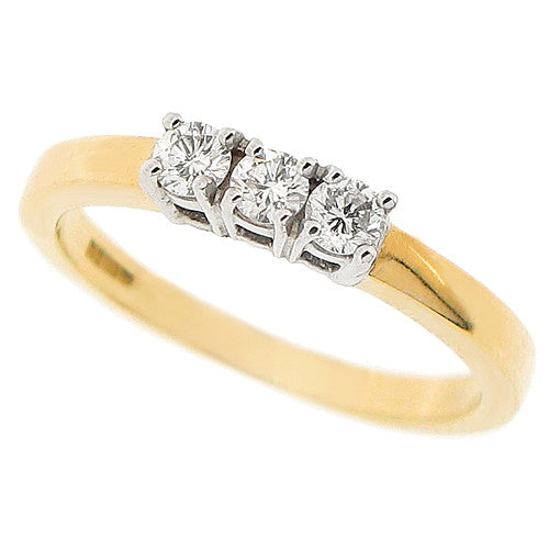 Brilliant cut diamond three stone ring in 18ct gold