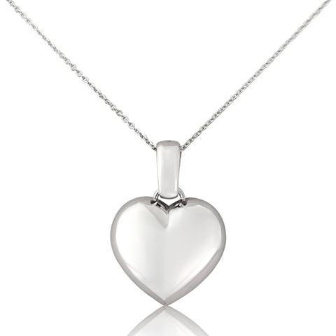 Heart pendant and chain in 9ct white gold