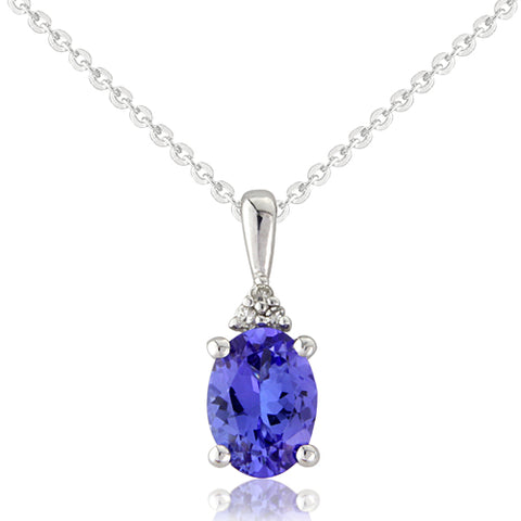 Tanzanite and diamond pendant and chain in 9ct white gold