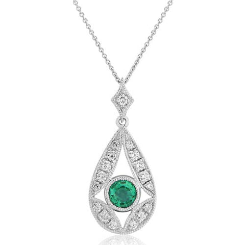 Emerald and diamond pendant and chain in 18ct white gold