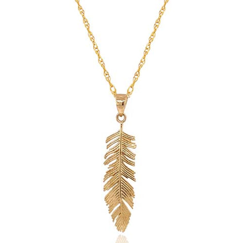 Feather pendant and chain in 9ct yellow gold
