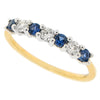Sapphire and diamond half eternity band in 18ct gold