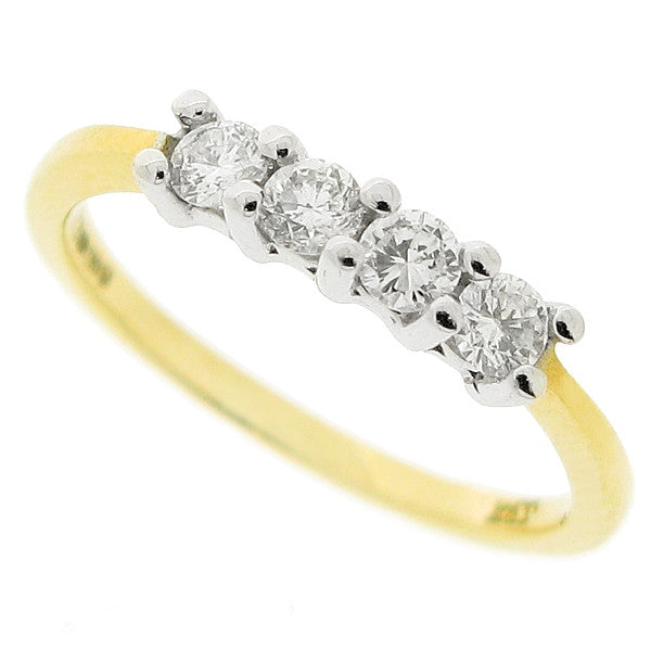Four stone diamond ring in 18ct gold, 0.33ct