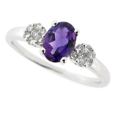 Ring - Amethyst and diamond ring in 9ct white gold  - PA Jewellery