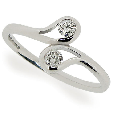 Ring - Diamond two stone ring in 18ct white gold, 0.20ct  - PA Jewellery