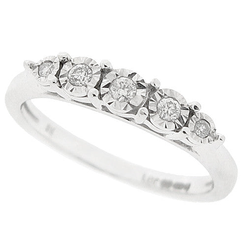 Five stone illusion set diamond ring in 9ct white gold