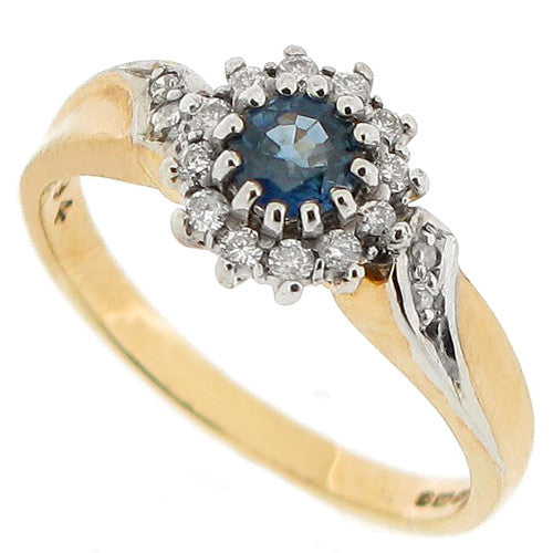 Sapphire and diamond cluster ring in 9ct yellow gold