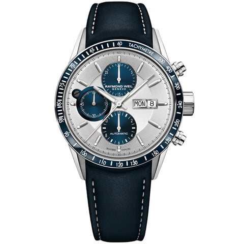 Men's Raymond Weil Freelancer in stainless steel on leather 7731-SC3-65521
