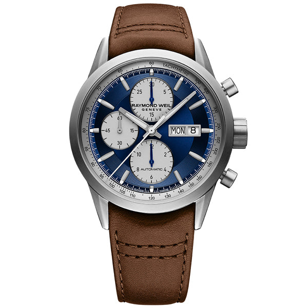 Raymond Weil Freelancer in stainless steel on leather 7732-TIC-50421