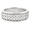 Round brilliant cut diamond two row band ring in 18ct white gold, 1.20ct