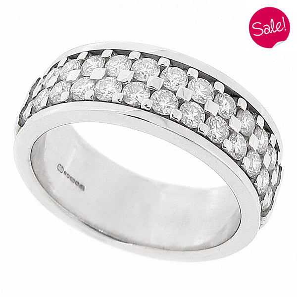 Round brilliant cut diamond two row band ring in 18ct white gold