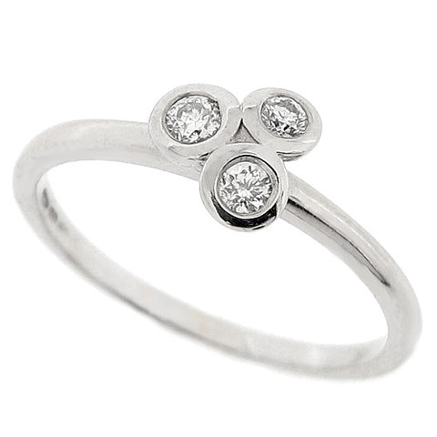 Diamond three stone cluster ring in 18ct white gold, 0.10ct