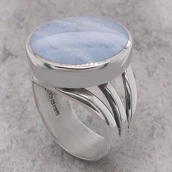 Blue Lace Agate dress ring in silver