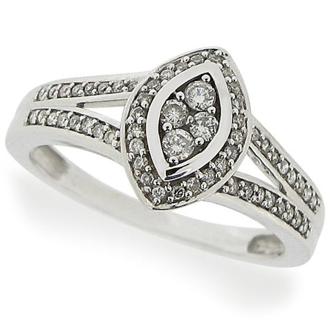 Ring - Diamond marquise shape dress ring in 9ct white gold,  - PA Jewellery