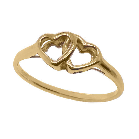 Double heart dress ring in 9ct gold