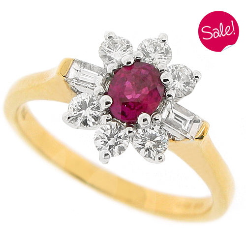Ruby and diamond cluster ring in 18ct gold