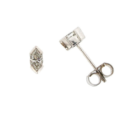 Earrings - Marquise Diamond solitaire stud earrings in 18ct white gold, 0.34ct  - PA Jewellery