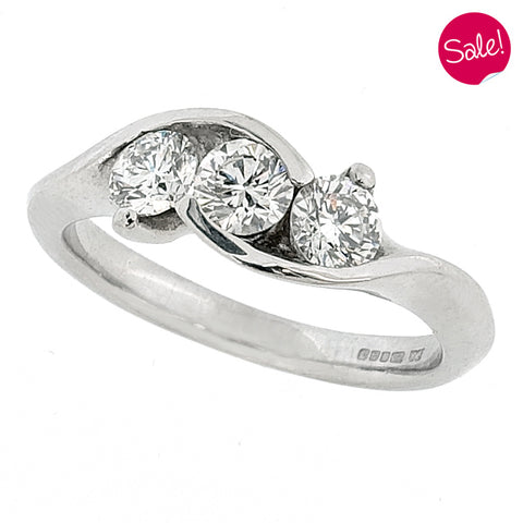 Diamond crossover three stone ring in 18ct white gold, 0.75ct