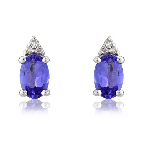 Tanzanite and diamond earrings in 9ct white gold