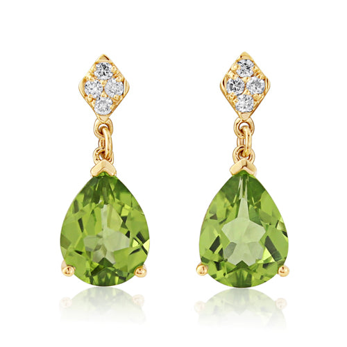 Peridot and diamond drop earrings in 9ct gold