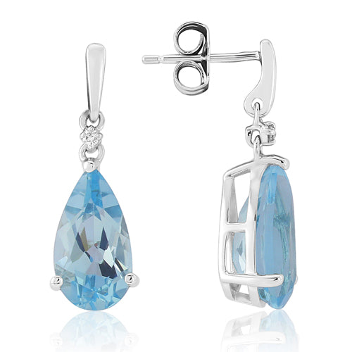Blue topaz and diamond drop earrings in 9ct white gold